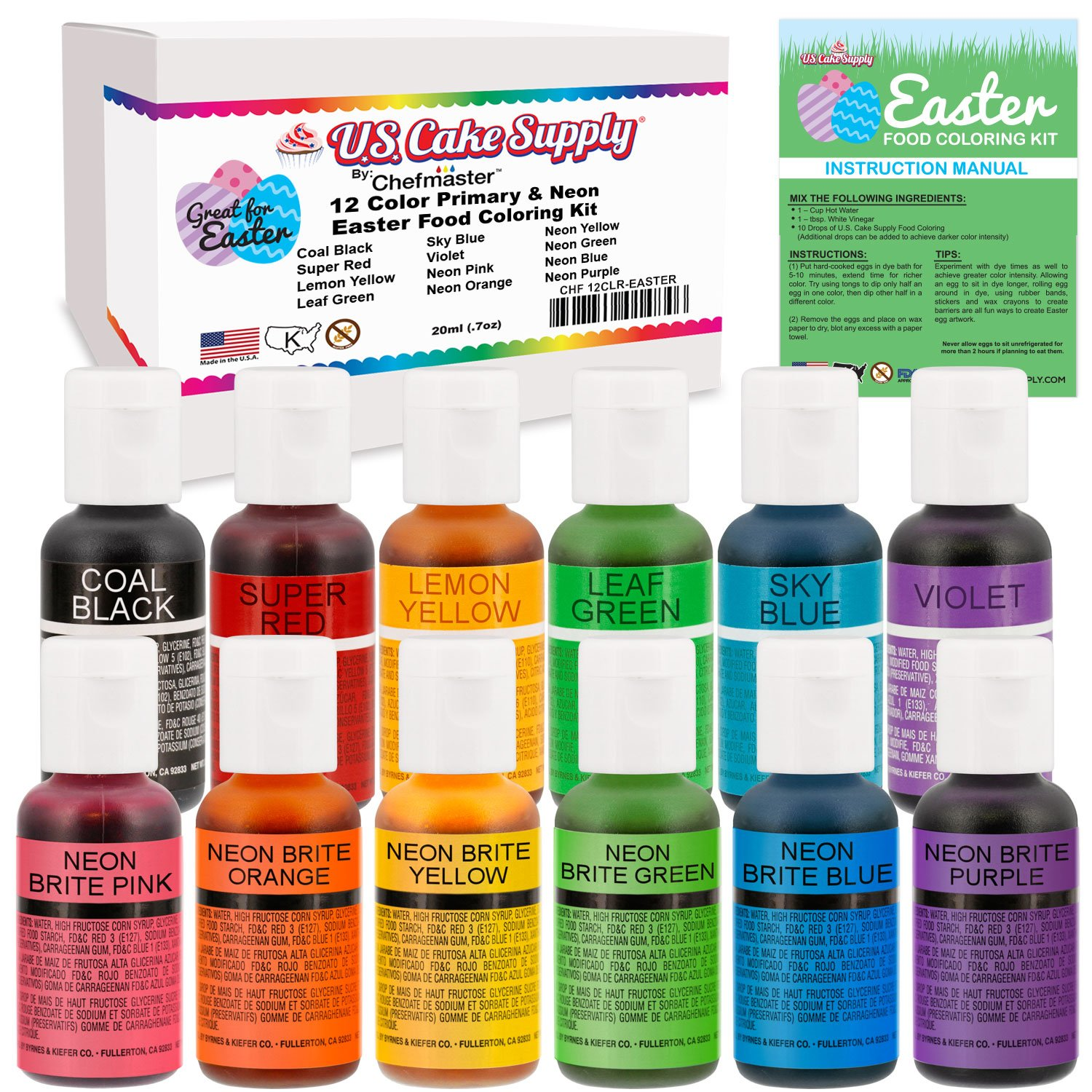 12 Color Cake Food Coloring Liqua-Gel Easter Egg Decorating Baking Set - U.S. Cake Supply .75 fl. Oz. (20ml) Bottles Primary & Neon Colors - Safely Made in the USA product