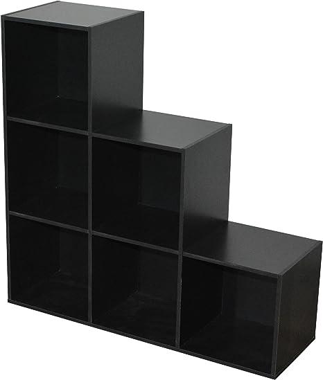 Compo Er Meuble De Rangement 6 Casiers En Escalier Bibliotheque Etageres Cubes Noir 93 X 29 5 X 93 Cm Amazon Fr Cuisine Maison