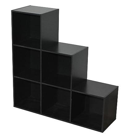 Compo Meuble De Rangement Noir.Compo Meuble De Rangement 6 Casiers En Escalier Bibliotheque Etageres Cubes Noir 93 X 29 5 X 93 Cm