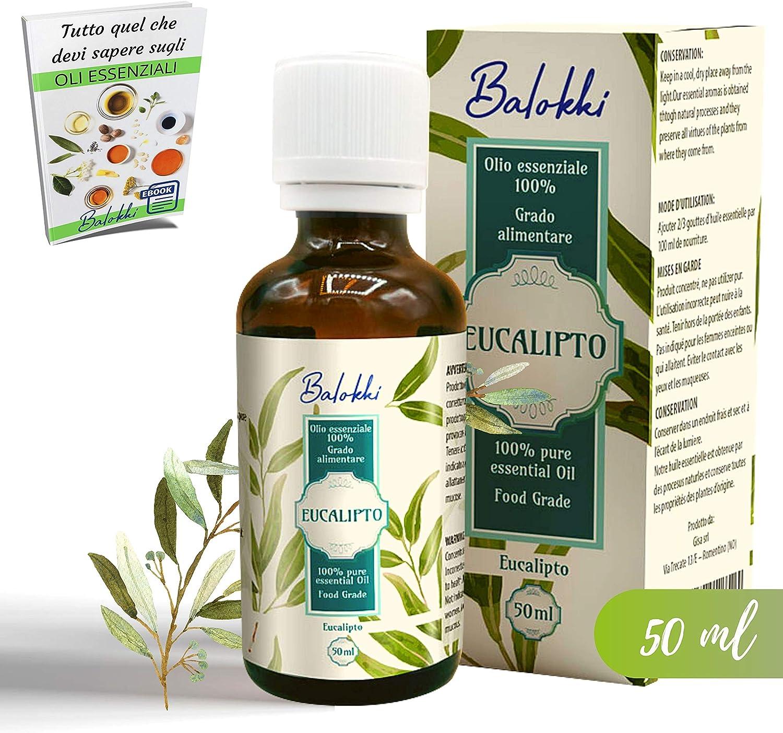 Aceite Esencial de Eucalipto Puro 100% + Ebook Gratis • Origen Español • Aromaterapia&Difusor • Masajes Vigorizantes • Grado Alimentario • Calmante y Purificante • Vidrio 50ml