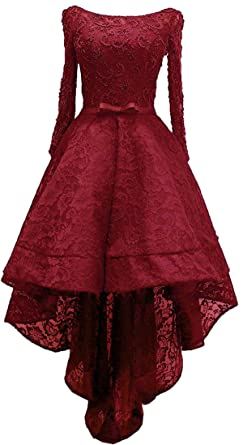 b8194d3c37d9 Diandiai Women's High Low Prom Dress with Beads Lace Long Sleeve Evening  Gown Burgundy 2
