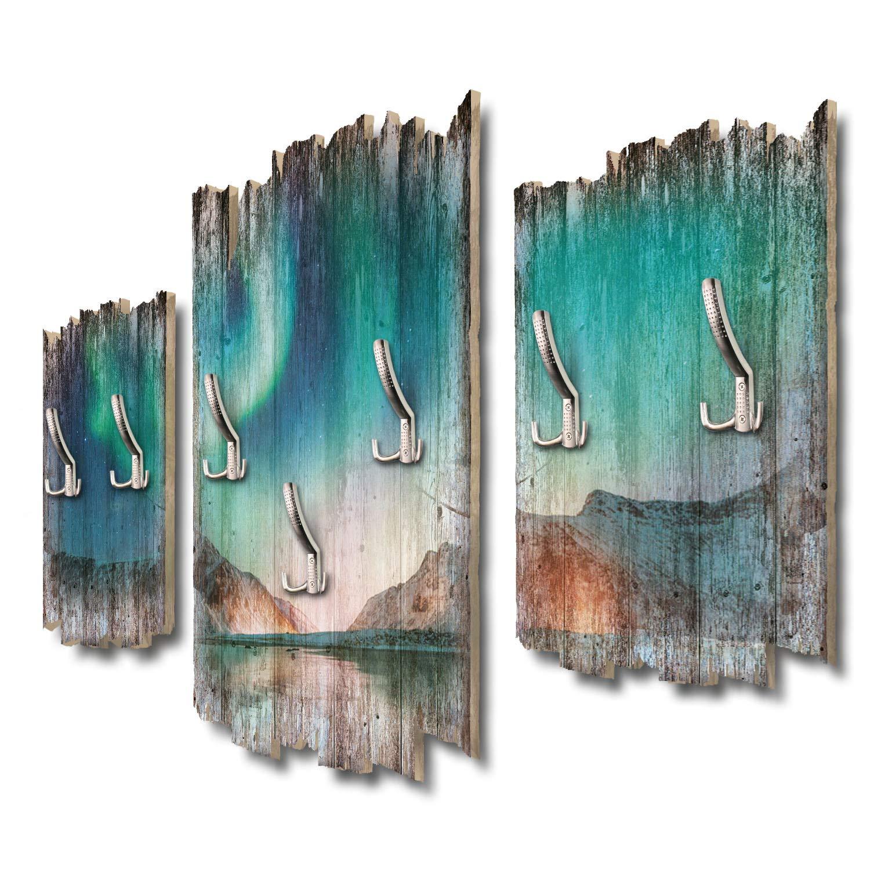 Kreative Feder Nordlicht Eismeer Designer Wandgarderobe Flurgarderobe Wandpaneele 95 x 60 cm aus MDF DTGH081