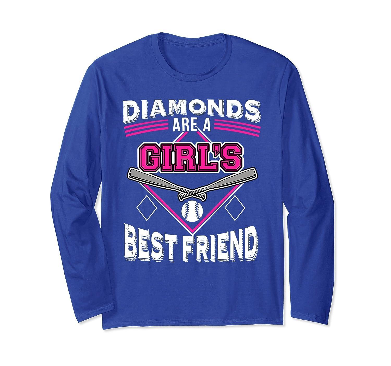 DIAMONDS ARE A GIRL'S BEST FRIEND Long Sleeve Softball shirt-mt