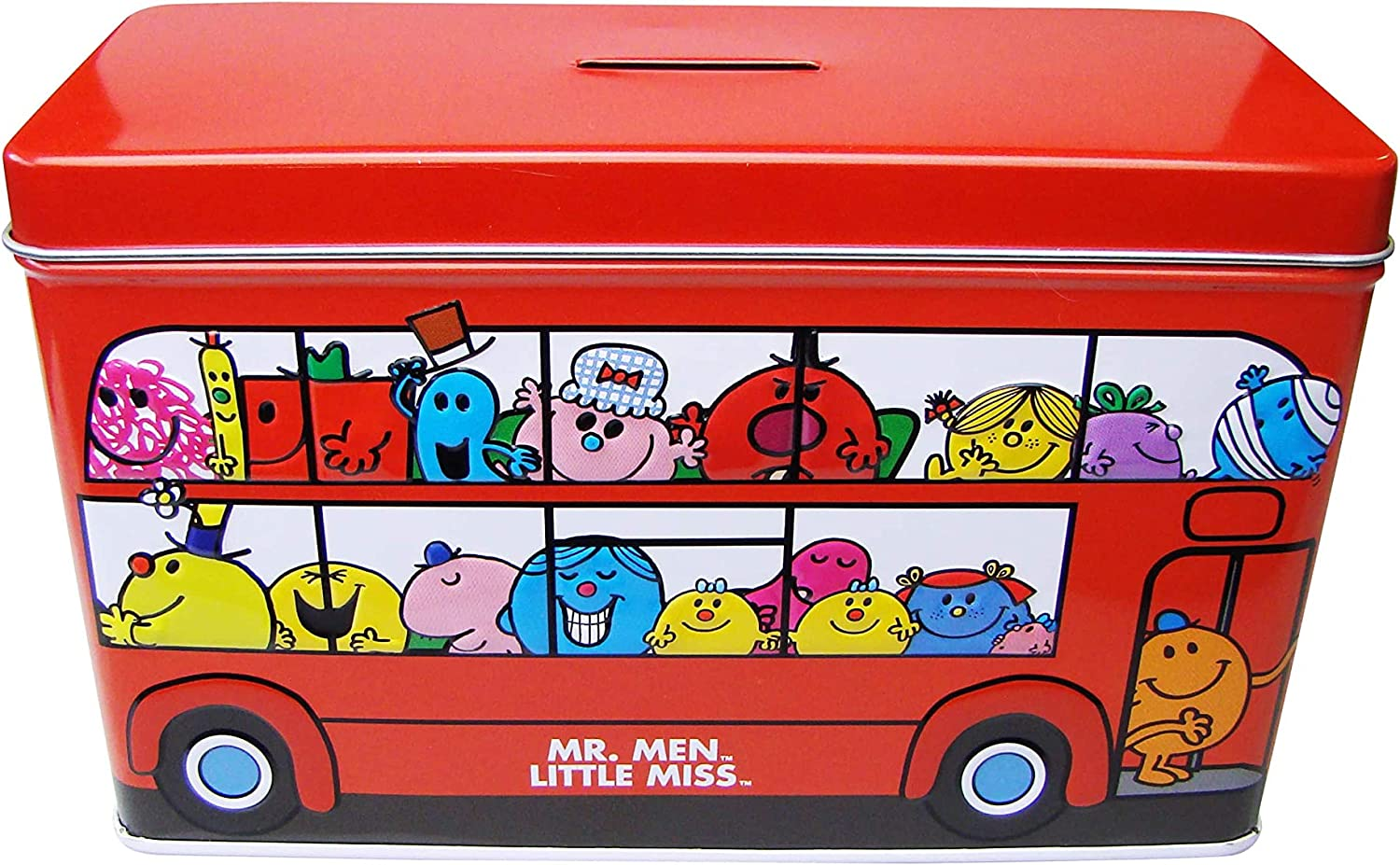Mr. Men and Little Miss Bus Money Box filled with mini chocolate chip cookies