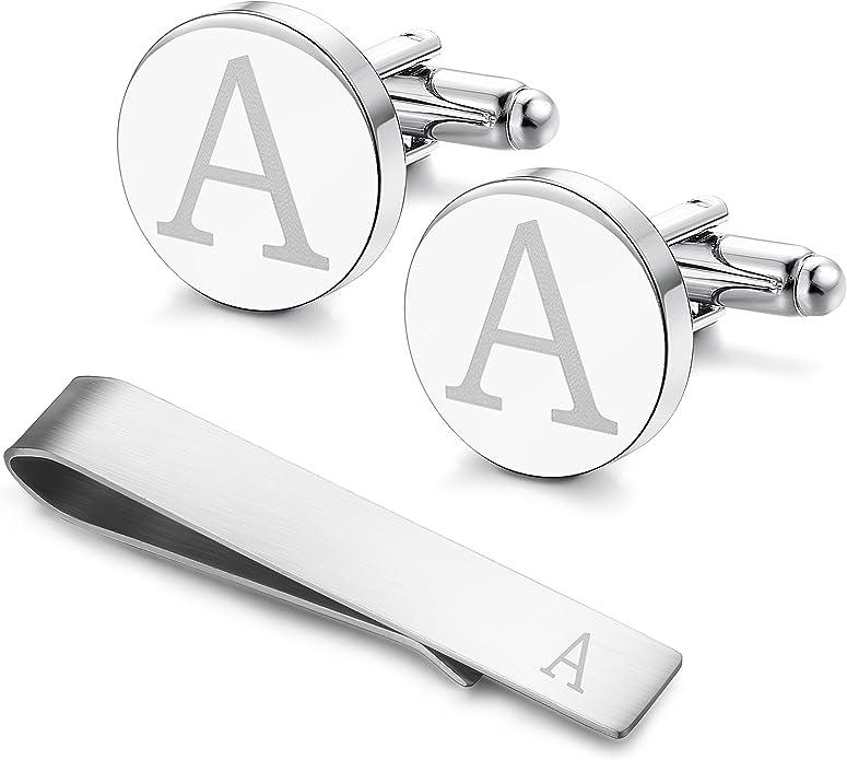 Mens initial silver alphabet cufflink cuff link wedding formal business Letter R