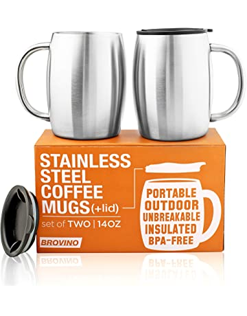 ba1c4bee97b Stainless Steel Coffee Mugs with Lid (Set of 2) - 14 oz Double Walled