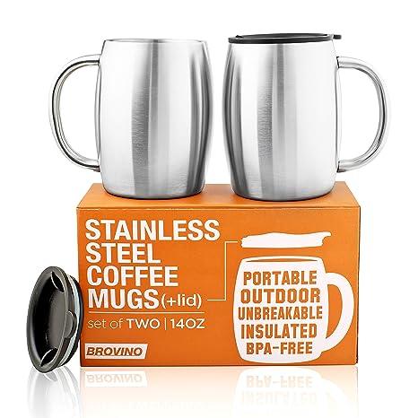 Amazon.com: Tazas de café de acero inoxidable con tapa ...