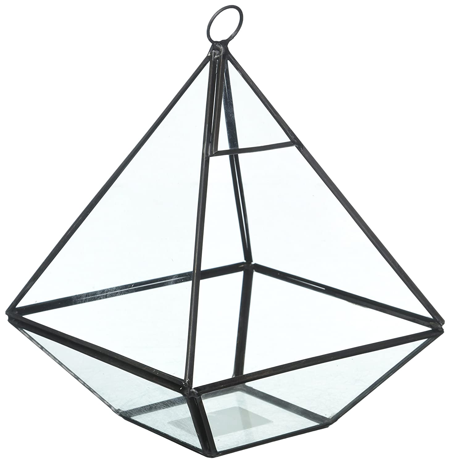 Hanging Clear Glass Prism Air Plant Terrarium/Tabletop Succulent Planter/Tea Light Candle Holder MyGift GET0308BK_1