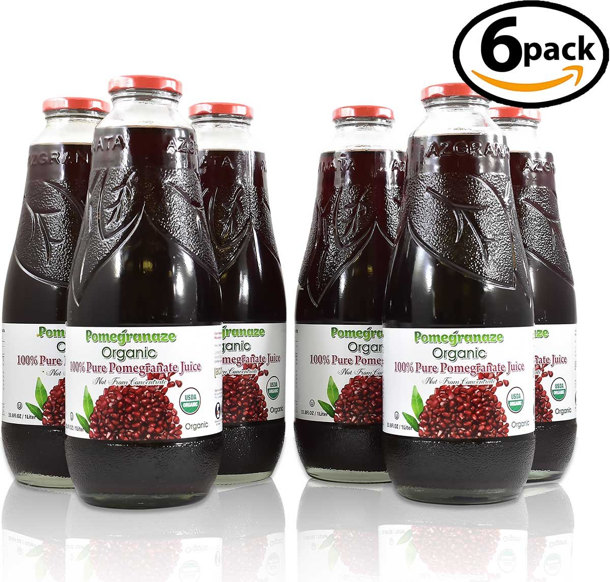 100% Pomegranate Juice - 6 Pack,33.8Fl Oz - USDA Organic Certified - Glass Bottle - No Sugar Added - No Preservatives - Squeezed From Fresh Pomegranates