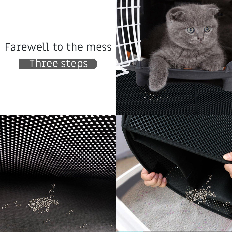 ... capa alfombrilla de alimentación de gato alfombra de suelo moqueta panal, plegable, antideslizante, fácil de limpiar para gatos, perros (55 x 70 cm), ...