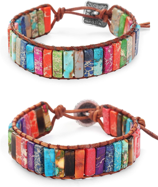 LOYALLOOK 7 Chakra Bracelet Handmade Multicolor Natural Imperial Jasper Stone Tube Beads Leather Reiki Healing Gemstone Woven Adjustable Leather Wrap Bracelet
