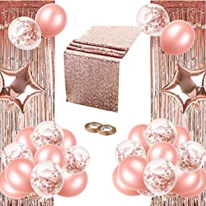 Rose Gold Party Decorations, 37Pack Including 30 Rose Gold Latex Balloons, 1 Rose Gold Sequin Table Runner, 2 Fringe Curtain, 2 Star Balloons and 2 Ribbon for Rose Gold Birthday Party, Wedding Decor