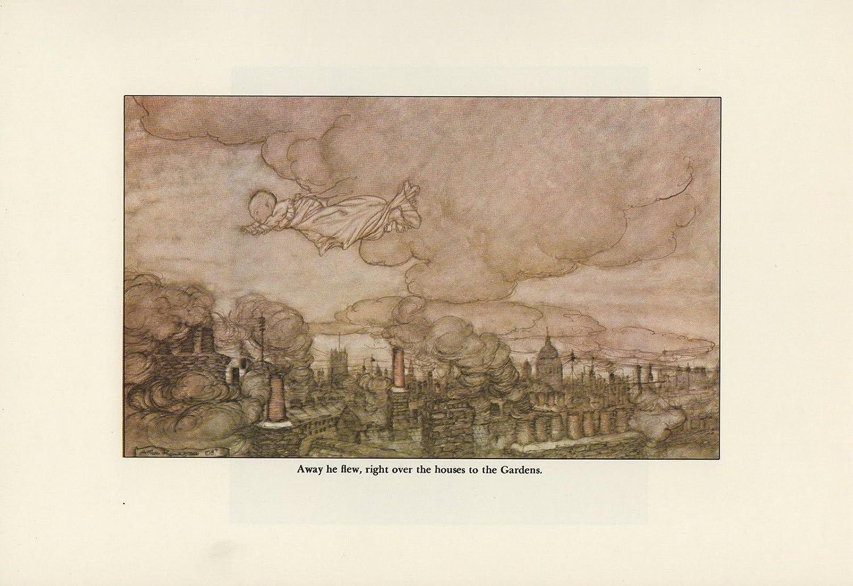 """1975 Vintage PETER PAN /""""HE FLEW TO KENSINGTON/"""" RACKHAM Color Print Lithograph"""