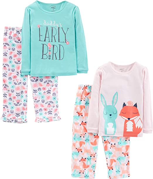 Simple Joys by Carters Little Kid and Toddler Girls 4-Piece Pajama Set Cotton Top /& Fleece Bottom