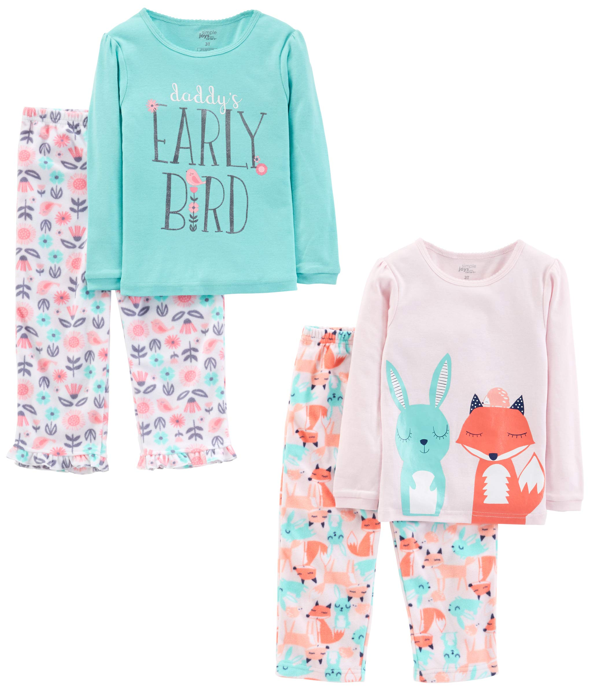 Simple Joys by Carter's Girls' Little Kid 4-Piece Pajama Set, Daddy/Fox/Rabbit, 6 by Simple Joys by Carter's
