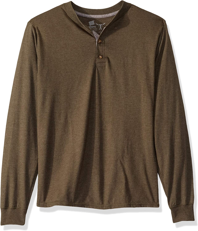 Hanes Men's Long Sleeve Beefy Henley Shirt at  Men's Clothing store