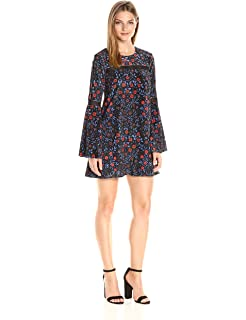 f8b155b02a Cynthia Rowley Women s Folky Floral Printed Velvet Boho Trapeze Dress with  Trim Detail