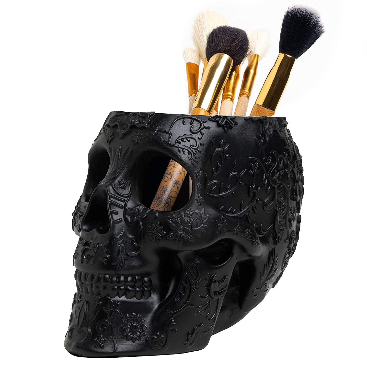 Skull Makeup Brush Holder Extra Large, Strong Resin Extra Large By The Wine Savant