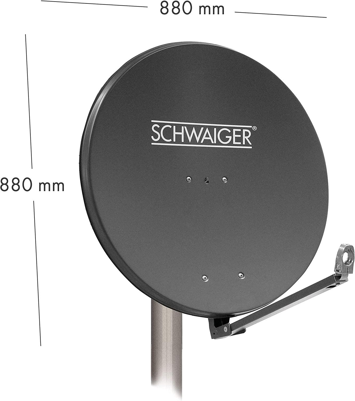 SCHWAIGER -258- Antena satelital | Antena satelital con Brazo de Soporte LNB y Montaje en mástil | Antena satelital de Aluminio | Antracita | 88 x 88 ...