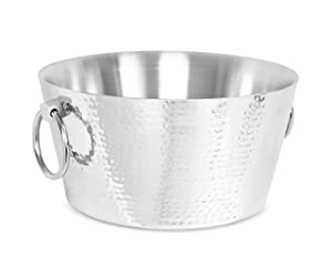 BirdRock Home Hammered Double Wall Round Beverage Tub | 3 Gallons Stainless Steel | Ice Bucket | Metal Drink Cooler | House Party | Handles Small Container