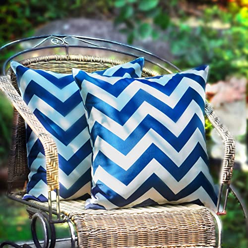 WESTERN HOME WH Pack of 2 Decorative Outdoor Waterproof Throw Pillow Covers Square Pillowcases Wave Pattern Cushion Covers Shell