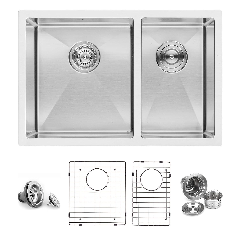 BAI 1227 Stainless Steel 16 Gauge Kitchen Sink Handmade 27-inch Undermount Double Bowl