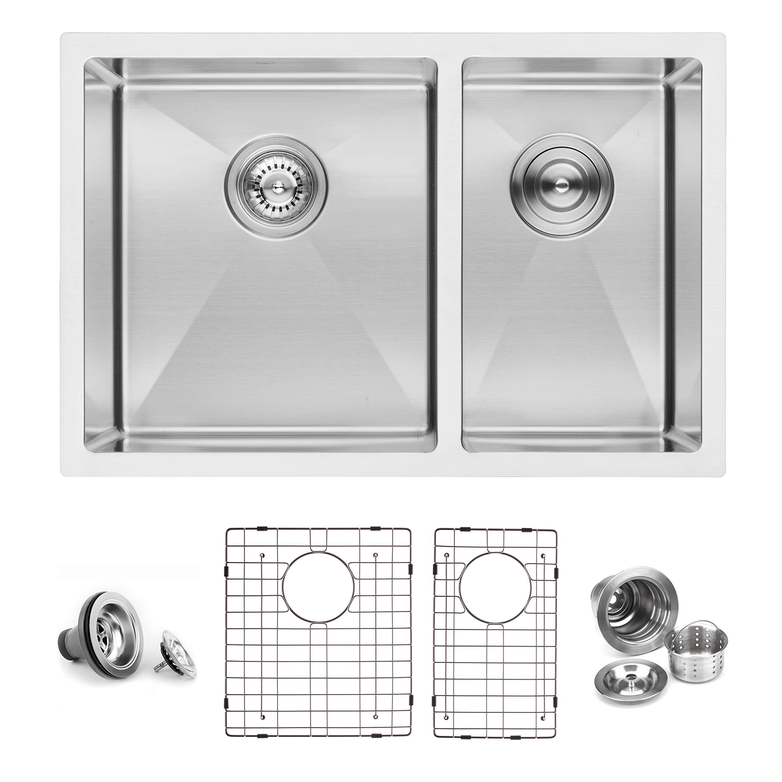 BAI 1227-27'' Handmade Stainless Steel Kitchen Sink Double Bowl Under Mount 16 Gauge