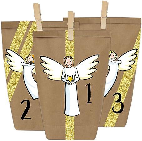 Calendrier de lAvent DIY Anges /à Coller No/ël 2018 avec 24 Sacs en Papier /à remplir
