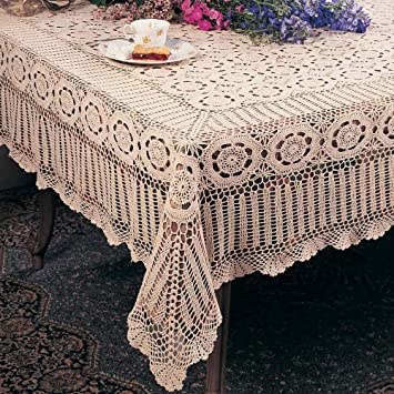 Handmade Crochet Lace Tablecloth. 100% Cotton Crochet. Ecru, 70 Inch X 90