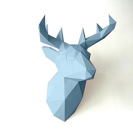 Cut And Stick Trophée Animal Tête De Cerf Papier Origami 3d Bleu Ciel