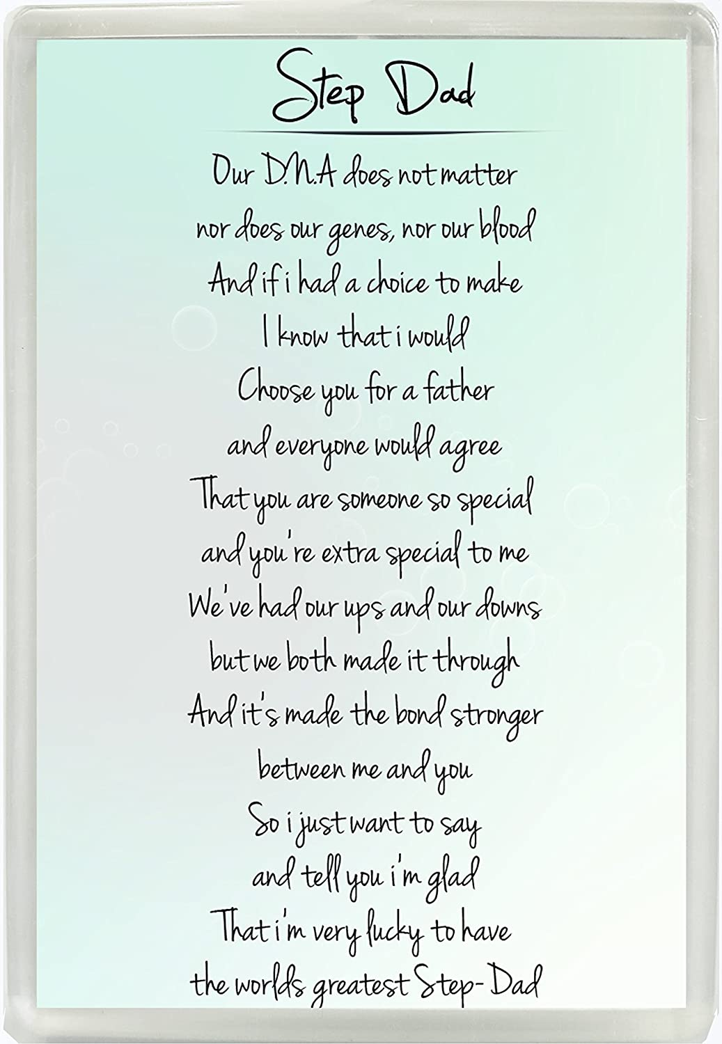 Step Dad Poem Jumbo Fridge Magnet Ideal Birthday Fathers Day Gift 871 Amazoncouk Kitchen Home