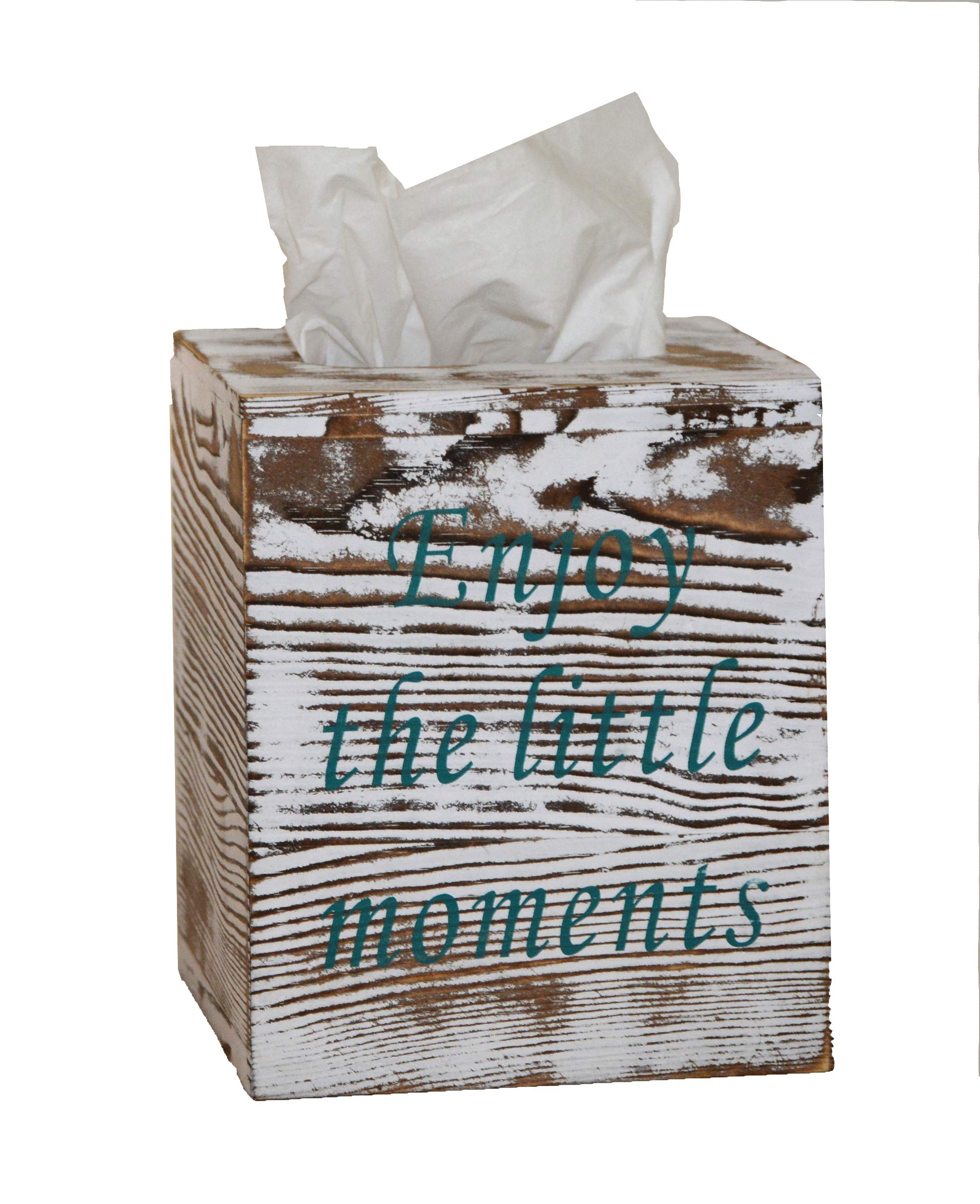 Rustic Wood Tissue Box Cover Included Slide Out Bottom Panel Kleenex Box Holder with 2 mottos Printed Perfect for Farmhouse bathrooms Decor and More by Soffer