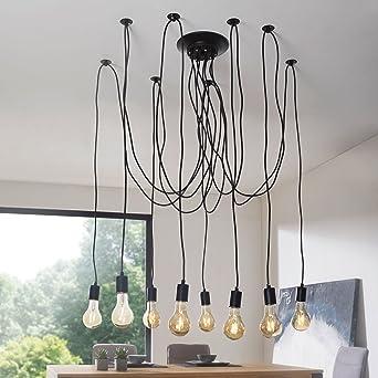 Hervorragend WOHNLING Industrial Deckenleuchte LYDIA Leuchte 8 Flammig Pendelleuchte  Schwarz | Retro Lampe Mit 8 Pendel