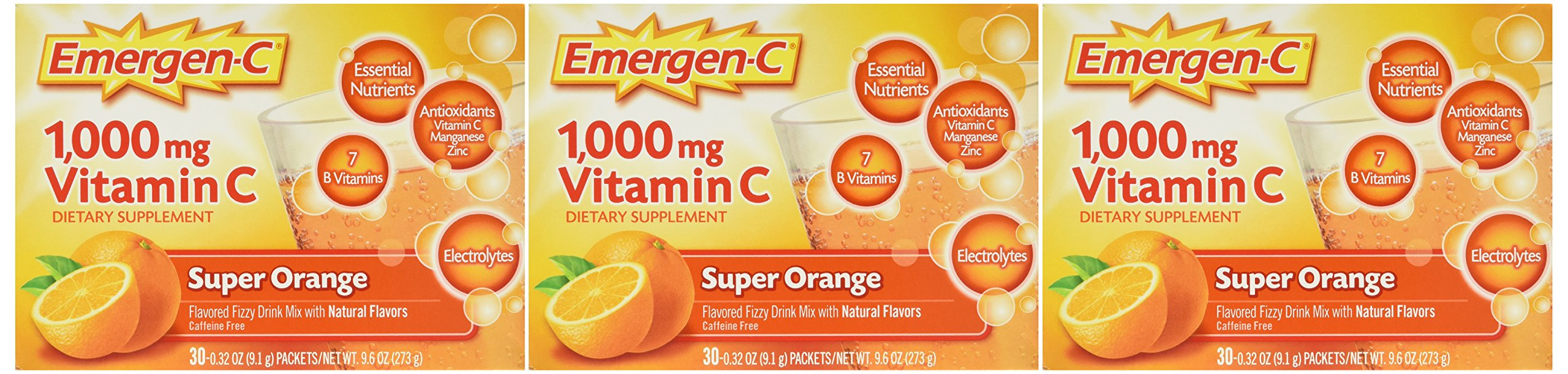 Emergen-C Vitamin C Fizzy Drink Mix, 1000 mg, Super Orange, 0.3 Ounce Packets 30 packets (Pack of 3)