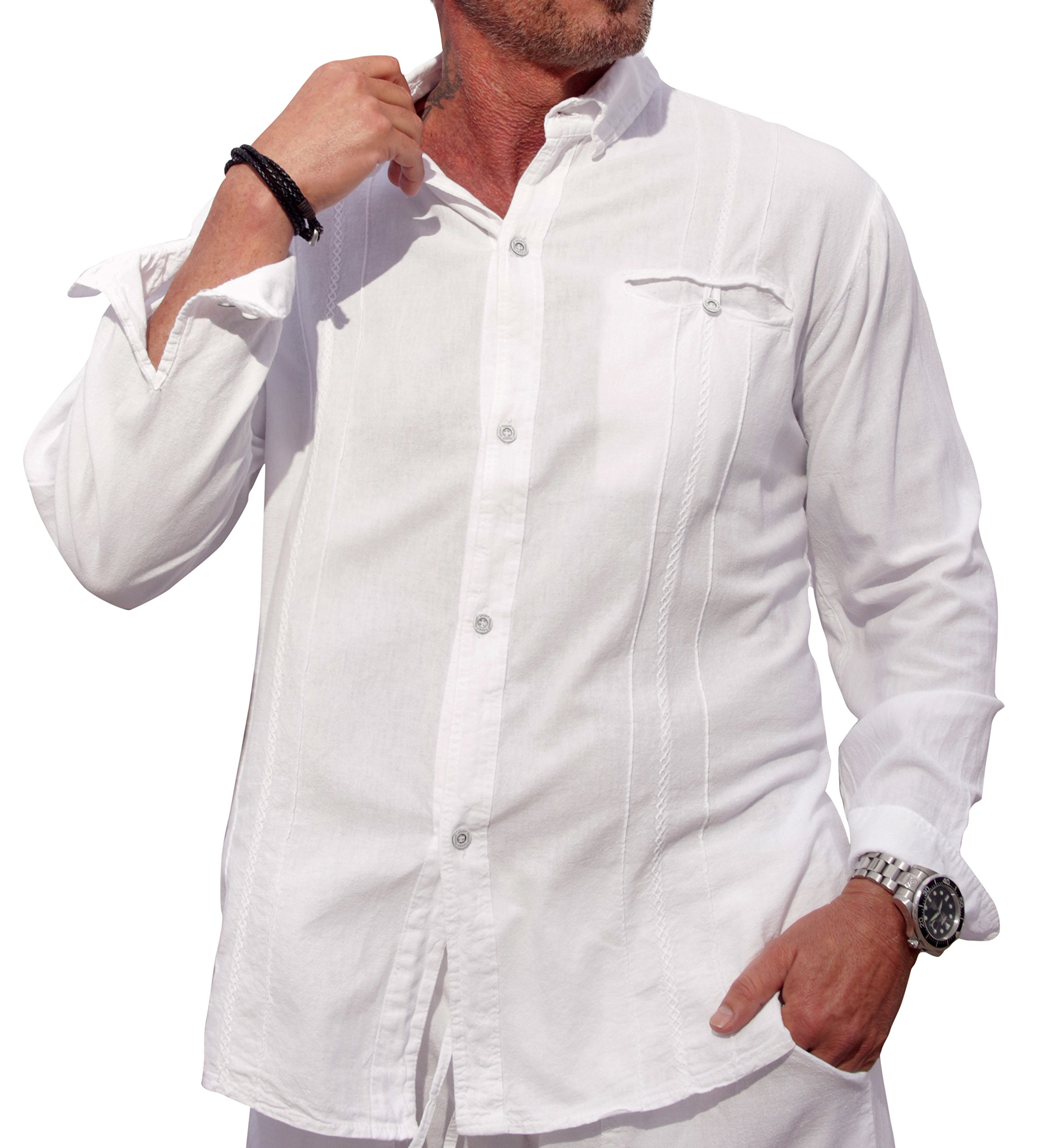 M&B USA Cotton White Long-Sleeve Button Loop Closure Pocket Organic Embroidered Button Down Shirt (XX-Large, White) by M&B USA (Image #3)