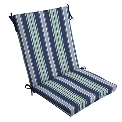 Sapphire Stripe Outdoor Chair Cushion Blue Striped Traditional Polyester Uv Resistant: Home & Kitchen