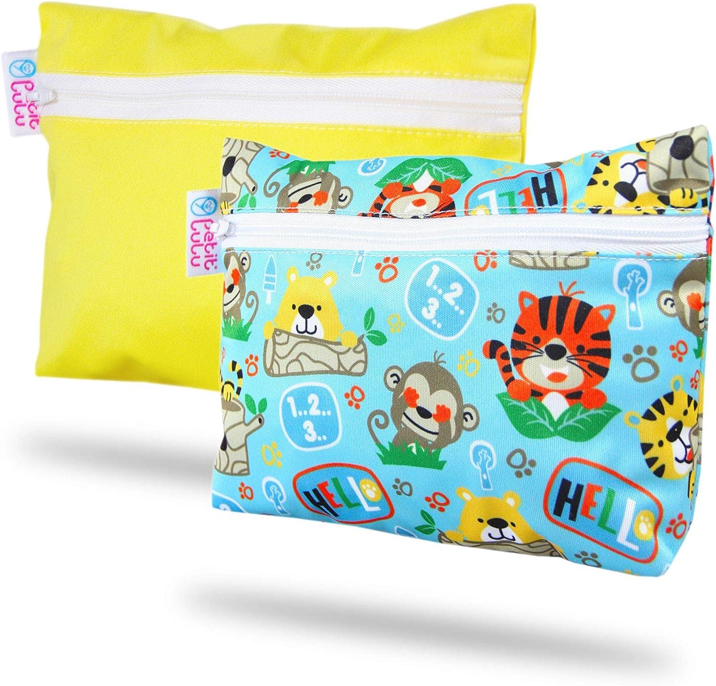 Petit Lulu Cierre de cremallera y mango a presi/ón Impermeable Fabricado en Europa Geckos Tama/ño doble Bolsa de pa/ñales reutilizable y lavable