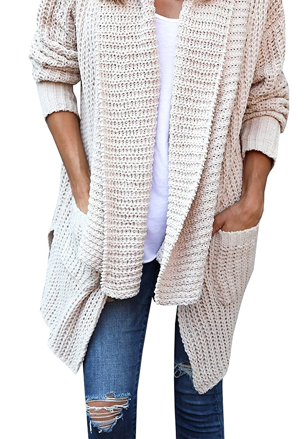 cd9969a13 VOKY Women Comfy Cozy Pocketed Cardigan Long Sleeve Knitted Sweater Outwear  at Amazon Women s Clothing store