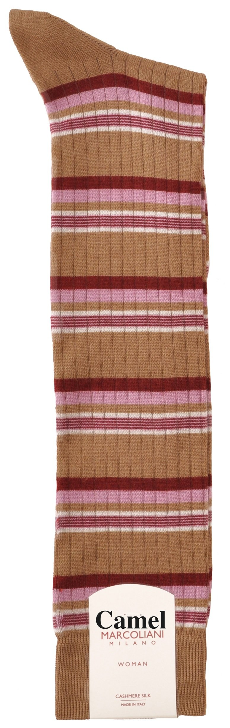 LIMITED EDITION Knee-High Cashmere & Silk Socks Chic Fashion Stripe - One Pair Camel