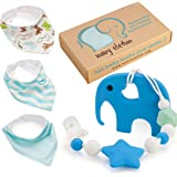 Baby Shower Gifts For Boys - Teether Pacifier Clip & Elephant Teething Toy Unique Set - 100% BPA Free Silicone and 3 Pack Bandana Drool Bibs With Snaps - Best Binky Holder For Newborn Infant, Toddlers