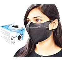 3D Disposable Face Mask Full Black for Adults, Elastic Cloth Ear Straps Breathable Face Mask 5 Individual Package Each…