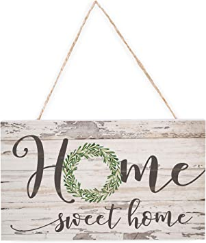 Amazon.com: Home Sweet Home blanco roto 6 x 3,5 madera Mini ...