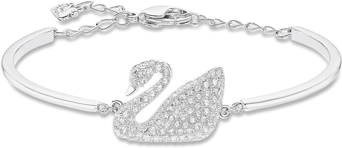 Swarovski Bracelet-Jonc Swan, Blanc, Métal Rhodié: Amazon.fr: Bijoux