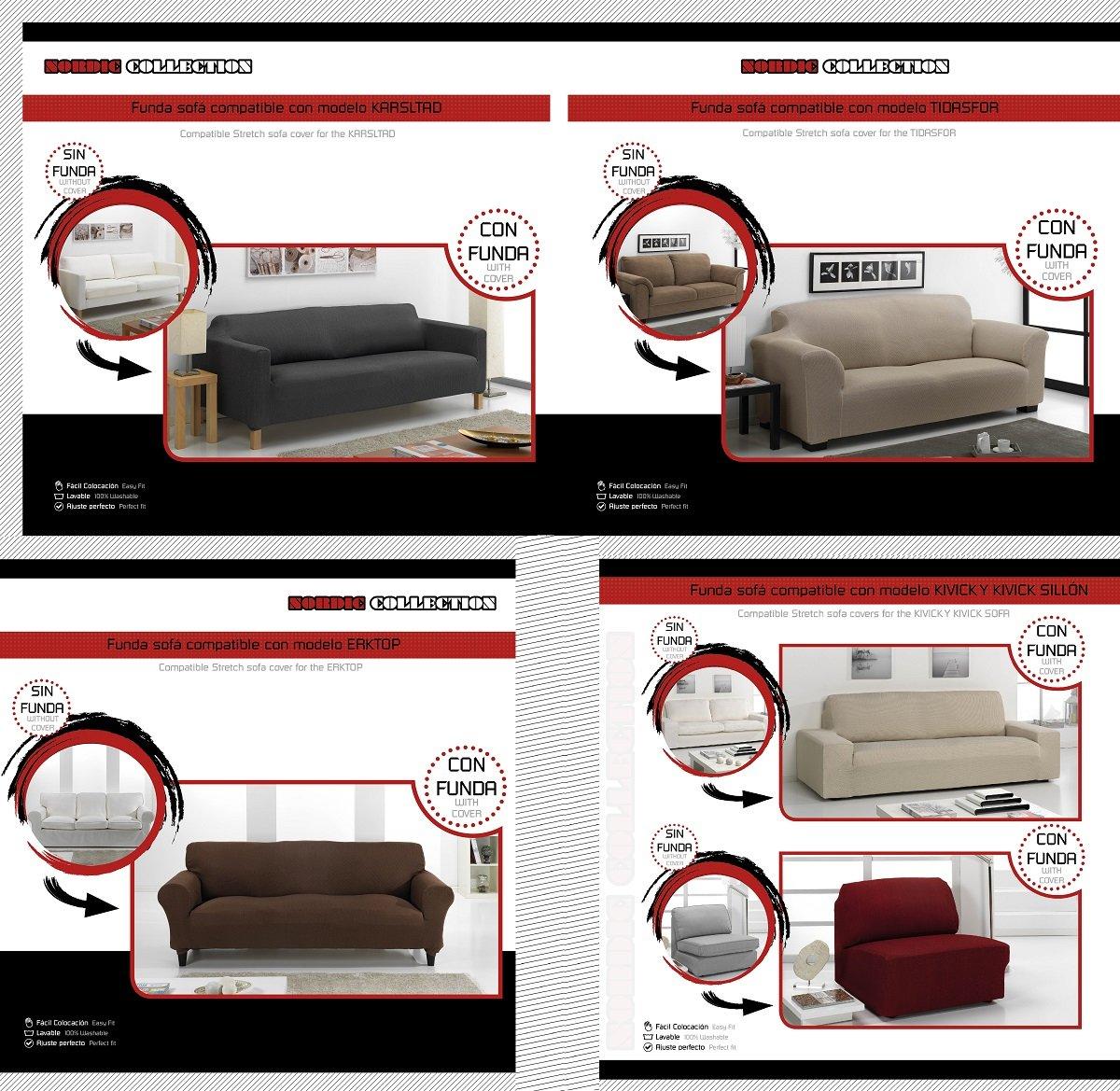 textil-home Funda de Sofá Elástica TIDAFORS, 3 plazas - Desde 180 a 240 cm. Color Negro (Modelo Exclusivo Funda Sofá TIDAFORS IKEA)