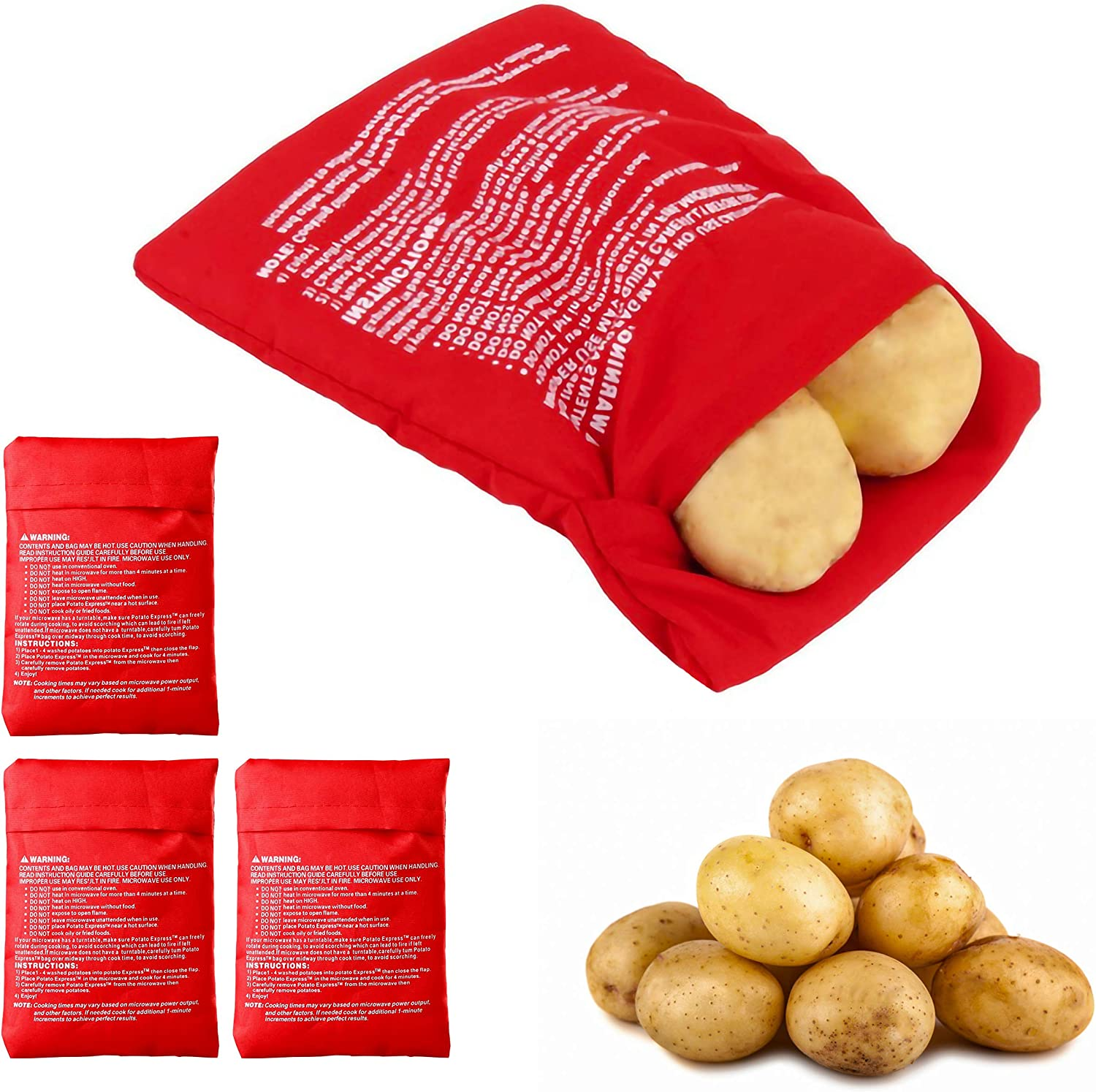 Microwave Potato Cooker Bag, Nice Size and Easily Fits 4 Potatoes, Just 4 Minutes Get Delicious Potato
