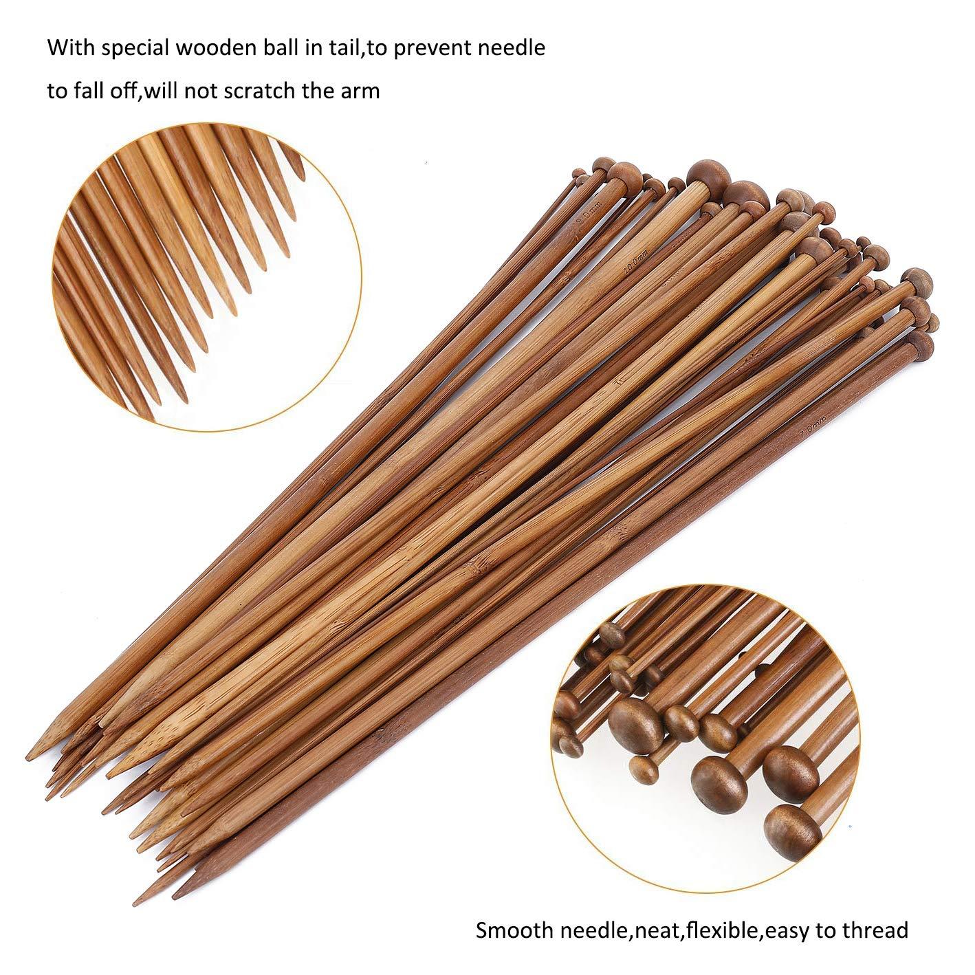 MaoXinTek Ferri da Maglia Bamboo 18 Dimensioni Punta Singola 2.0-10.0mm Ideale per Uncinetto Pizzo e Fiori 35cm
