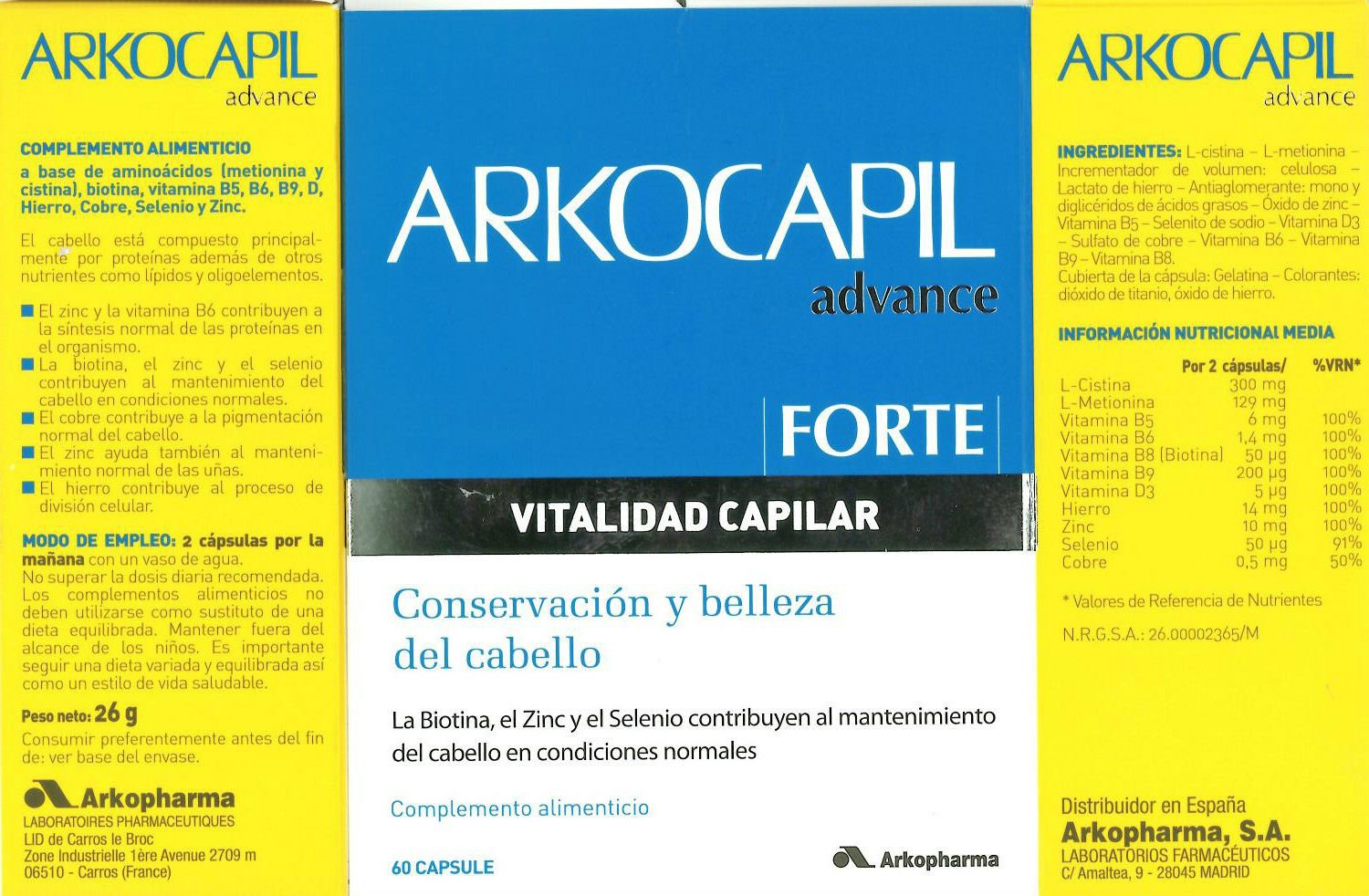 Amazon.com: ARKOCAPIL ADVANCE FORTE 60 CÁPSULAS ANTI HAIR LOSS and NAIL ARKOCAPS Xmas Gift Skin Beauty Gift: Beauty