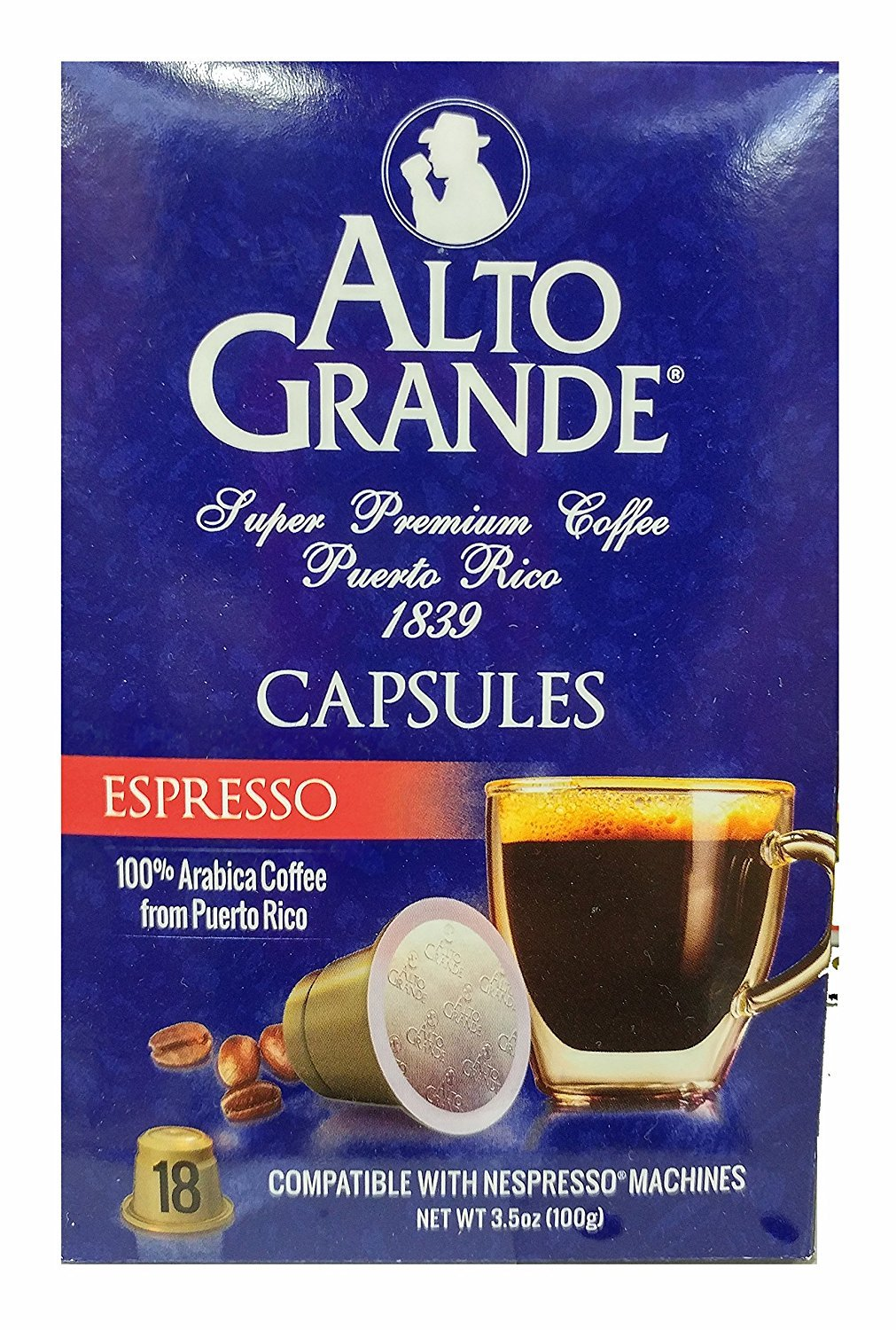 Alto Grande Espresso Super Premium Puerto Rico Coffee Capsules for Nespresso Machine (1 Box of