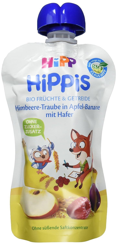 HiPP mit Vollkorn Himbeere-Traube in Apfel-Banane mit Hafer - Fred Fuchs, 6er Pack (6 x 100 g) 8539-01