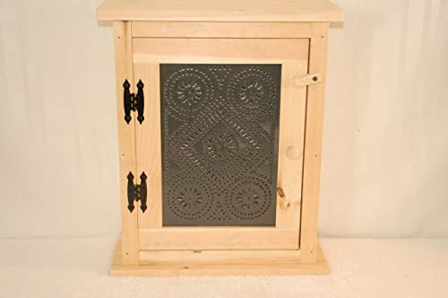 Unfinished Spice Rack with Black Metal Tin Front. Measures 18 X 8 X 21 Tall.
